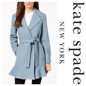 New Kate Spade Blue Wool Blend Ruffle Hem Coat